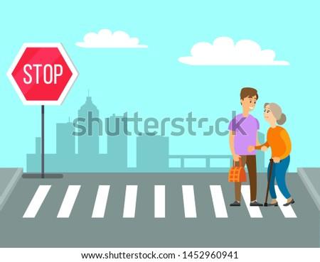 Volunteer helping granny to cross road on pedestrian crossing or crosswalk. Man carries old woman bag Vector cartoon person helps in charity volunteering