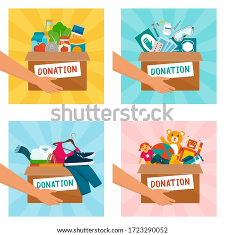 Volunteer holding donation boxes with food, medical equipment, clothing and toys Foto stock ©