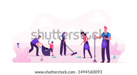 Volunteer People Cleaning Garbage in City Park Area. Volunteering, Men Women Kids Collecting Trash to Sacks, Racking Ground, Charity Social Concept, Ecology Protection Cartoon Flat Vector Illustration