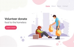 Volunteer people doing charity activities. Volunteer man donates food to homeless, stands giving food pack to elderly homeless man. Homeless, volunteer, help, poor, charity concept vector illustration