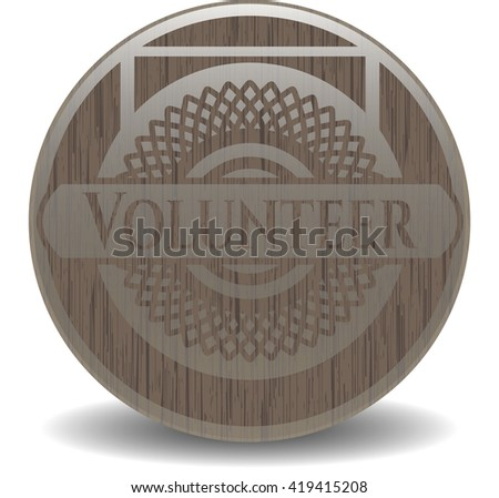 Volunteer retro wooden emblem
