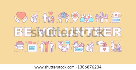 Volunteer training program word concepts banner. Charity, donation. Presentation, website. Charitable nonprofit organization. Isolated lettering idea with linear icons. Vector outline illustration