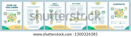 Volunteering brochure template layout. Charitable organization. Flyer, booklet, leaflet print design. Donation for charity. Help and support. Vector page layouts for magazines, annual reports, posters