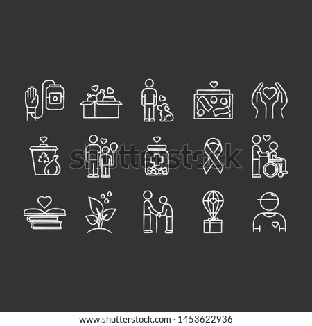 Volunteering chalk icons set. Reliance on volunteers in problem solving. Social activity. Voluntary cooperation of individuals. Community service help. Isolated vector chalkboard illustrations