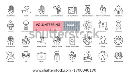 Volunteering, charity icons. Set of images with editable stroke. Help and support for children and adults, animals. Humanitarian aid, volunteers health, politics, sports, friendship, kindness, sponsor