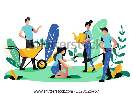 Volunteering, charity social concept. Volunteer people plant trees in city park, vector flat illustration. Ecological lifestyle. stock photo