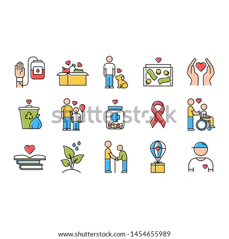 Volunteering color icons set. Reliance on volunteers in problem solving. Social activity. Voluntary cooperation of individuals. Volunteerism. Community service help. Isolated vector illustrations