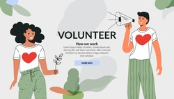 Volunteering community concept. Care for environment, green mind, ecology lover. Active diverse people doing social charity activities. Flat vector cartoon illustration. Template fot website