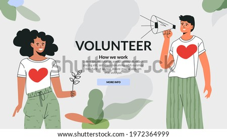 Volunteering community concept. Care for environment, green mind, ecology lover. Active diverse people doing social charity activities. Flat vector cartoon illustration. Template fot website  Stock fotó ©