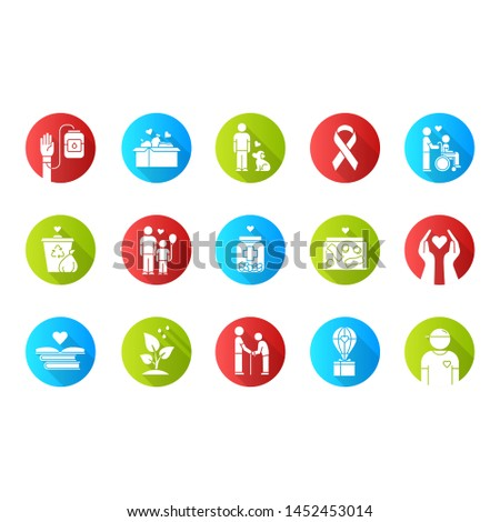 Volunteering flat design long shadow glyph icons set. Reliance on volunteers in problem solving. Social activity. Community service help. Vector silhouette illustration