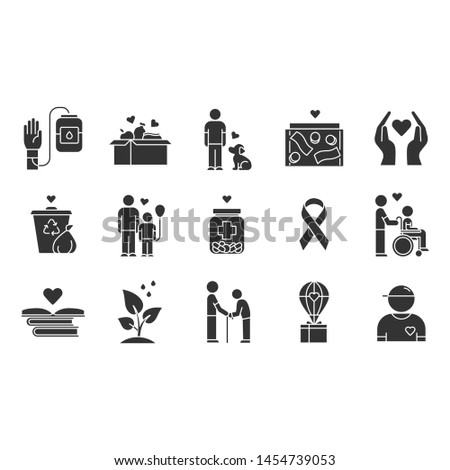 Volunteering glyph icons set. Reliance on volunteers in problem solving. Social activity. Volunteerism. Community service help. Silhouette symbols. Vector isolated illustration