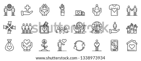 Volunteering icons set. Outline set of volunteering vector icons for web design isolated on white background Foto stock ©