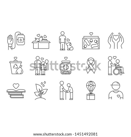 Volunteering linear icons set. Reliance on volunteers in problem solving. Social activity. Community service help. Thin line contour symbols. Isolated vector outline illustrations. Editable stroke