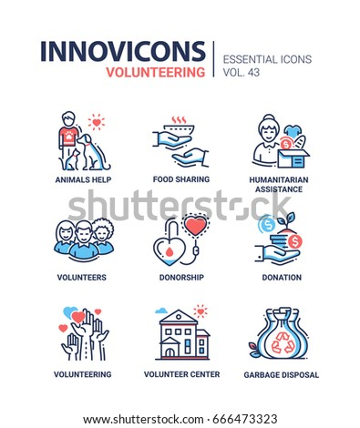 Volunteering - modern vector line design icons set. Animal help, aid, food sharing, humanitarian assistance, donorship, donation, center, garbage disposal, people, heart, recycle.