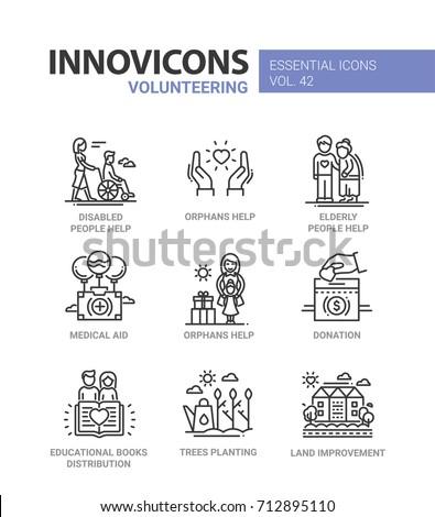 Volunteering - modern vector line design icons set. Disabled people, orphans, elderly, senior help, medical aid, donation, educational books distribution, tree planting, land improvement.