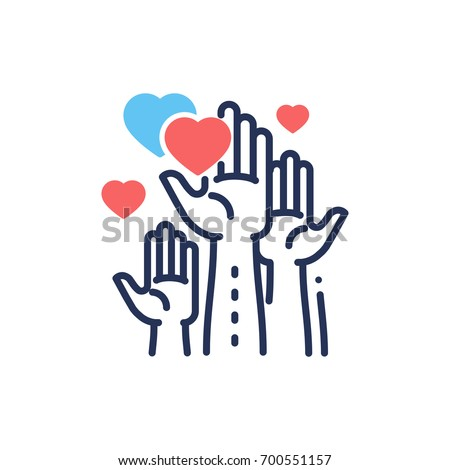 Volunteering - modern vector single line design icon. An image of hands up, different size hearts, blue and color, white background. Charity, volunteering, help, care presentation.