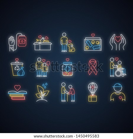 Volunteering neon light icons set. Reliance on volunteers in problem solving. Social activity. Voluntary cooperation. Community service help. Glowing signs. Vector isolated illustrations