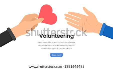 Volunteering organization flat landing page template. Cartoon hand sharing heart, love symbol. Charitable fund, charitable non profit foundation vector webpage layout with text space
