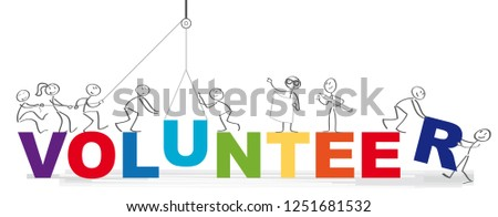 Volunteering team and the word volunteer vector illustration concept - Group of diversity people volunteer