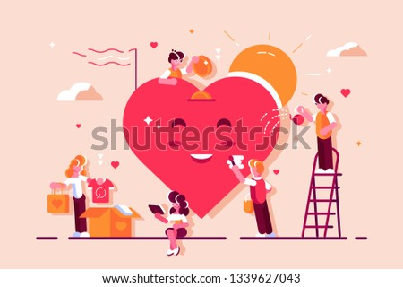 Volunteering. Team help charity and sharing hope. Care, love. Good heart community support poor, homeless and elder persons. People care about cute smile big red heart. Volunteers. Flat, vector.