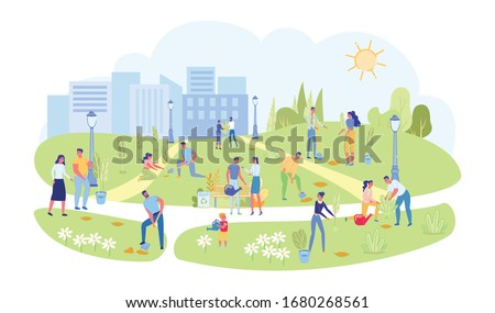 Volunteers and Active Citizens Engaged in Landscaping and Greening City Park. Spring Beautification in Town Garden. People Cartoon Characters Planting Trees and Bushes. Flat Vector Illustration. Foto stock ©