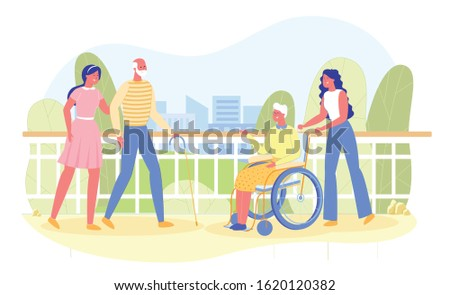 Volunteers Assisting Disabled Senior People. Volunteering Community Social Worker. Human Kind, Help, Support Elderly Citizens and Sick Character Patients with Stick, in Wheelchair. Vector Illustration