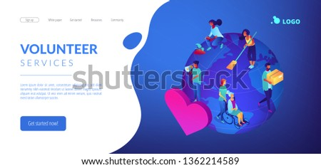 Volunteers at work on globe cleaning, helping the elderly, planting and donating. Volunteering, volunteer services, altruistic job activity concept. Isometric 3D website app landing web page template