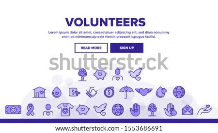 Volunteers, Charity Landing Web Page Header Banner Template Vector. Volunteering, Charitable Organizations. Donations, Humanitarian Aid, Peace-Keeping Missions Illustration