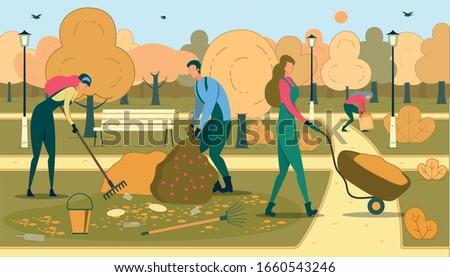 volunteers cleaning park flat