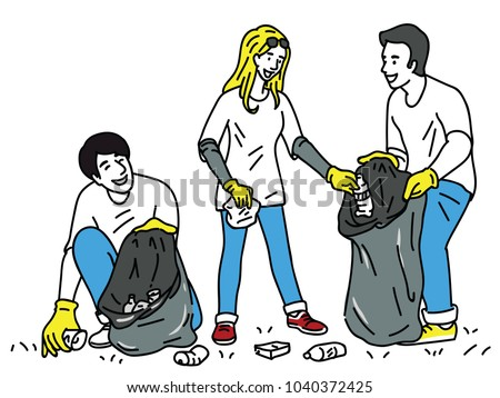 Volunteers collecting garbage for community cleanup, waste collector. Outline, linear, thin line art, hand drawn sketch design, simple style.