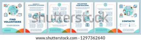 Volunteers finding brochure template layout. Volunteering team. Flyer, booklet, leaflet print design with linear illustrations. Vector page layouts for magazines, annual reports, advertising posters