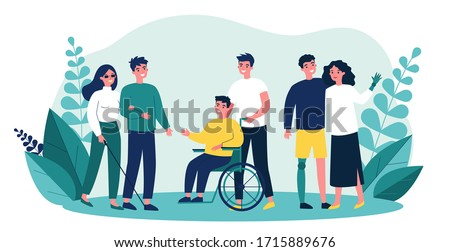 Volunteers helping disabled people. Group of men and women with special needs, on wheelchair, with prosthesis. Vector illustration for support, diversity, disability, lifestyle concept