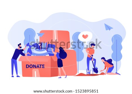 Volunteers like helping, planting seeds and donating clothes and toys into a box. Volunteering, volunteer services, altruistic job activity concept. Pinkish coral bluevector isolated illustration