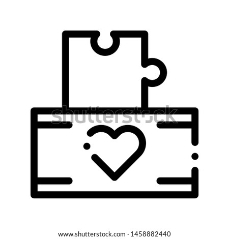Volunteers Support Game Box Vector Thin Line Icon. Volunteers Support, Help Charitable Organizations, Heart On Package With Playing Puzzle Element Detail Linear Pictogram. Contour Illustration
