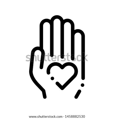 Volunteers Support Hand Love Vector Thin Line Icon. Volunteers Support, Charitable Organizations, Two Hand Keeping Heart Linear Pictogram. Big Blood Donor Contour Illustration
