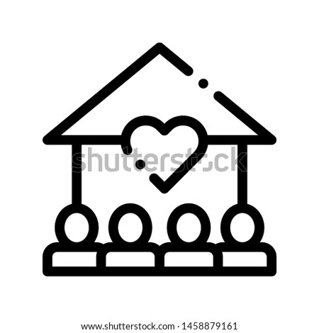 Volunteers Support House Vector Thin Line Icon. Volunteers Support, Charitable Organizations Linear Pictogram. Heart On Building, People Silhouette Blood Donor Contour Illustration