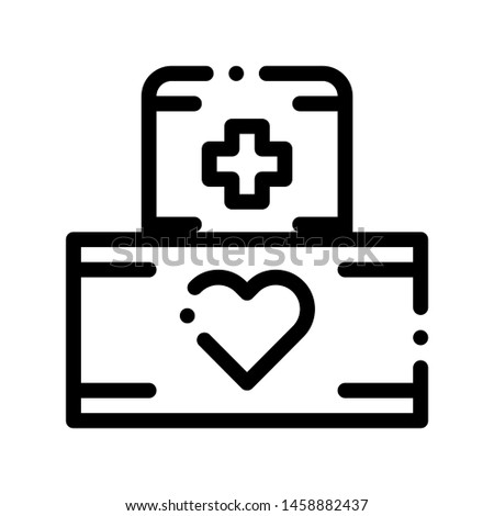 Volunteers Support Medikit Vector Thin Line Icon. Volunteers Support, Help Charitable Organizations, Heart On Package With Medicine Box Linear Pictogram. Contour Illustration