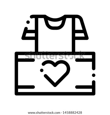 Volunteers Support Thing Box Vector Thin Line Icon. Volunteers Support, Help Charitable Organizations, Heart On Package With Clothing T-shirt Linear Pictogram. Contour Illustration