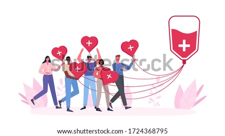 Volunteers woman and man donating blood. Blood donor charity. World Blood Donor Day, Health Care.People are holding hearts. For banner, poster, card, web, landing page.Flat cartoon vector illustration