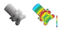 Von Mises stress isometric view of car suspension hub, Vector illustration eps.10