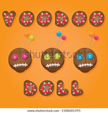 Voodoo doll heads with different types of thread stitches and eyes of different colors.