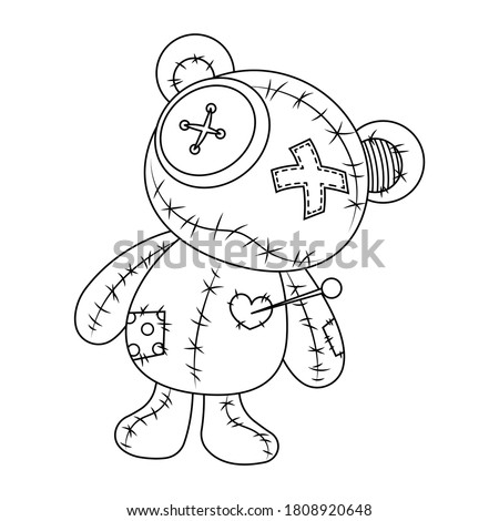 Voodoo doll teddy bear vector illustration isolated on white background. Rag voodoo bear doll vector cartoon. Halloween cursed doll coloring page.