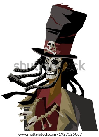 voodoo man with hat and skull