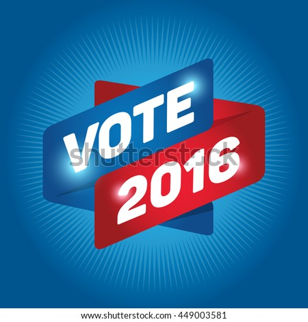 VOTE 2016 arrow tag sign icon. Cyan background.