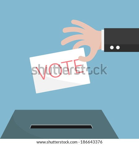 Vote ballot with box. Vector illustration.