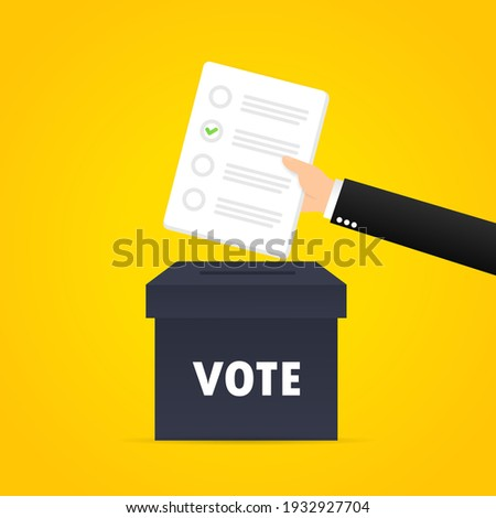 Vote banner. The hand puts the paper into the ballot box. Vector on isolated background. EPS 10 Foto d'archivio ©