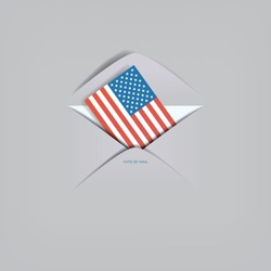 Vote by mail in US presidential election vector concept. American flag in envelope. Cast ballot, distant voting. Eps10 illustration.