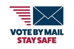 Vote by mail. Stay Safe concept. The 2020 United States Presidential Election. Template for background, banner, card, poster with text inscription. Vector EPS10 illustration