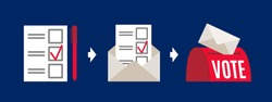 Vote by mail vector instruction illustration. Voting form, envelope, post box. Elections during quarantine concept.