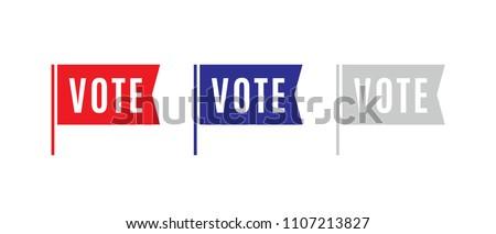 Vote Election Flag Sticker, President, Government Vector Logo Illustration Background for mobile, poster, flyers, social media
